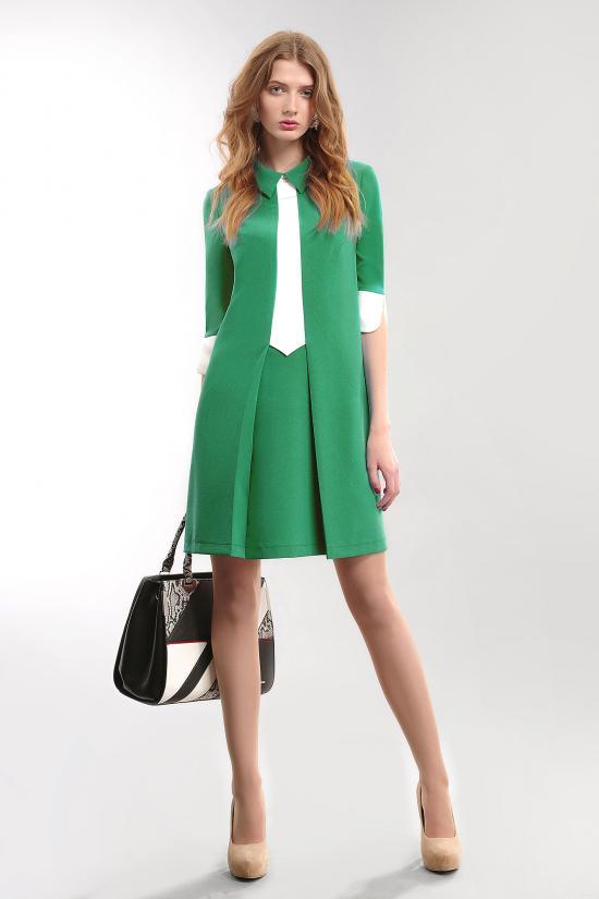 М 3408 зеленое Платье женское р.42-48 Длина по сп. 88 см. рукав 43 см.,Состав ПЭ 100%